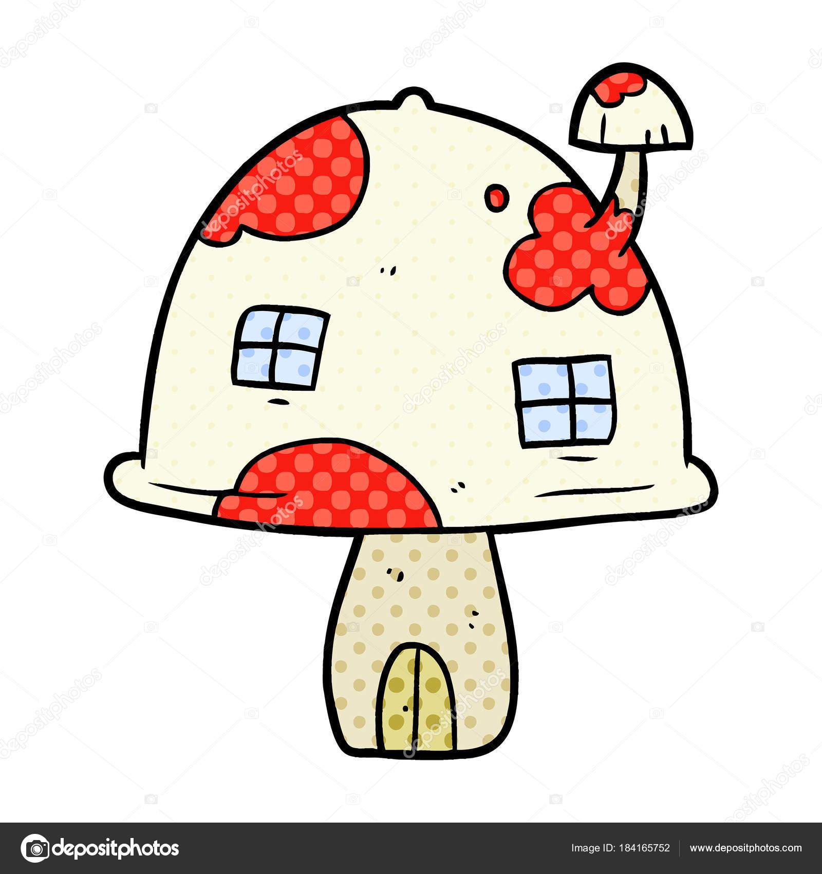 Cartoon Fairy Pilz Haus Stockvektor Lineartestpilot 184165752