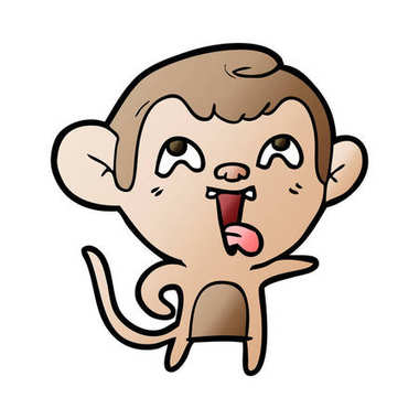 vector illustration of crazy cartoon monkey