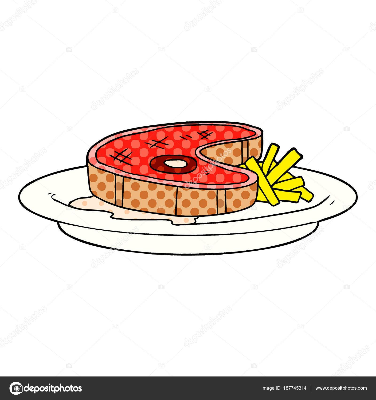 Vector Illustration Cartoon Steak Dinner Stock