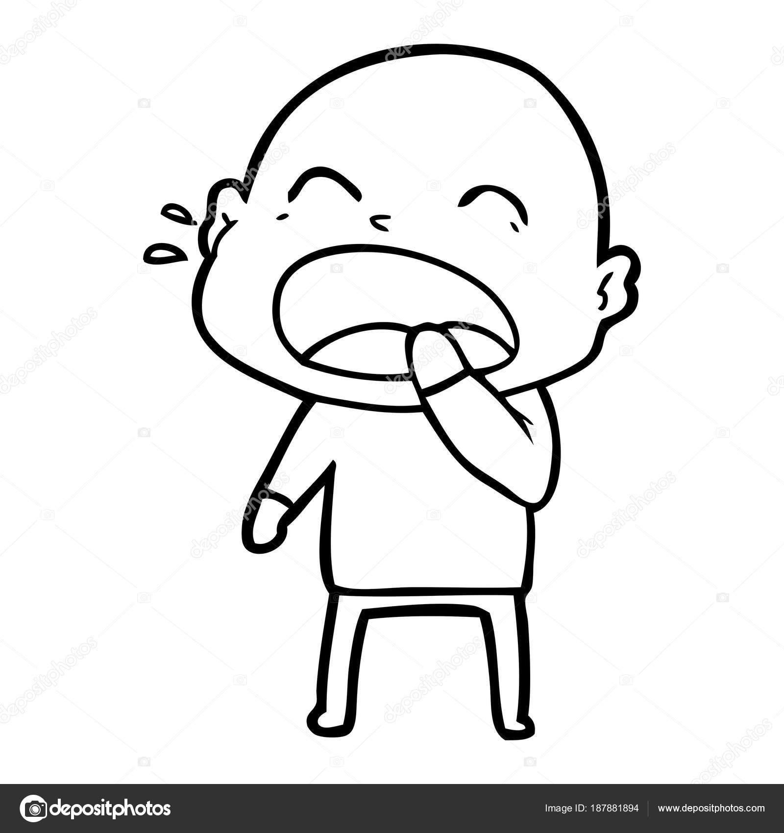 Imágenes Un Calvo Para Colorear Dibujos Animados Gritando Hombre