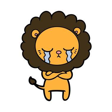 vector illustration of crying cartoon lion
