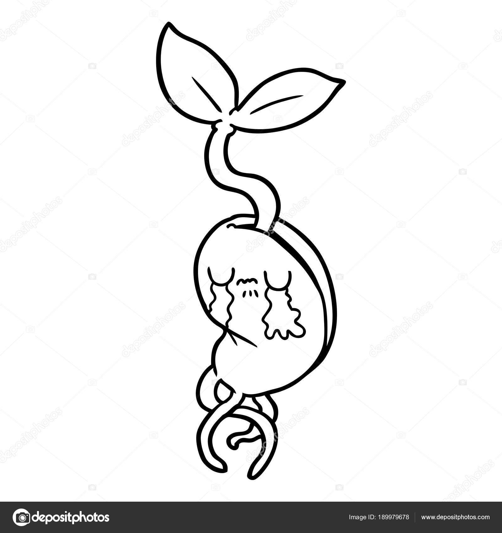 苗を発芽漫画のベクトル イラスト ストックベクター Lineartestpilot