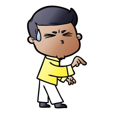 vector illustration of cartoon man sweating