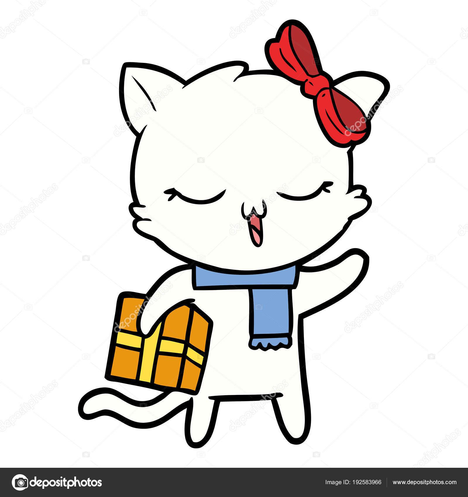 Cartoon Mädchen Katze Mit Weihnachtsgeschenk — Stockvektor ...