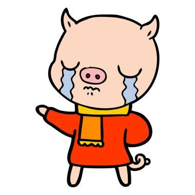 cartoon crying pig wearing scarf