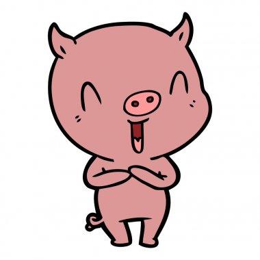 vector illustration of happy cartoon pig