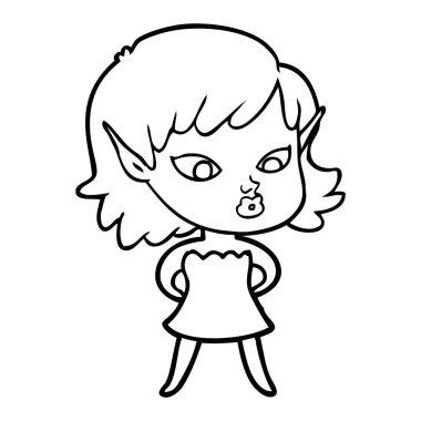 pretty cartoon elf girl