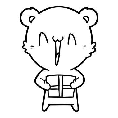 happy bear with gift cartoon