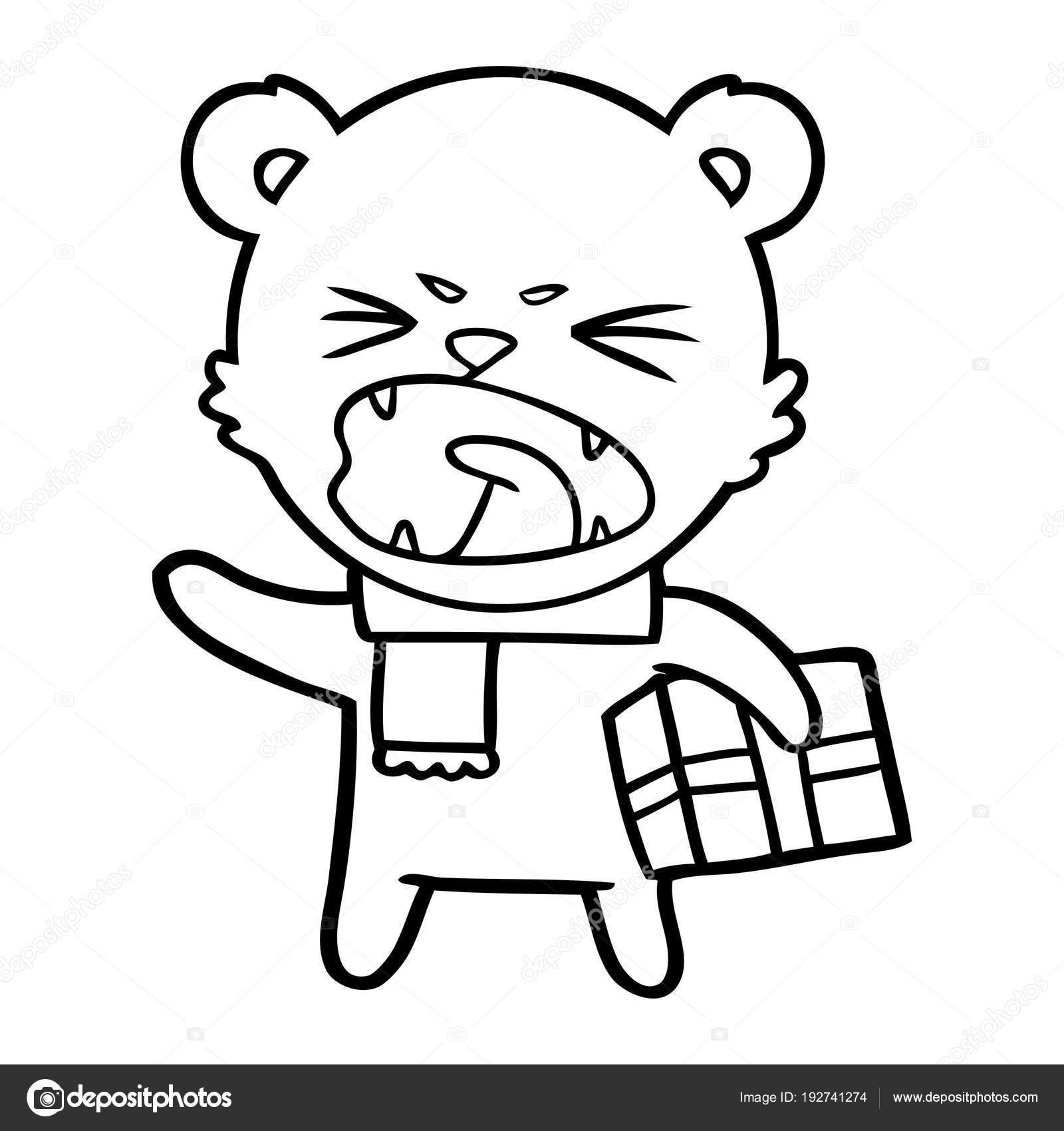 Ours Polaire Colere Dessin Anime Avec Cadeau Noel Image
