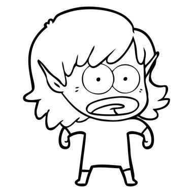 cartoon shocked elf girl