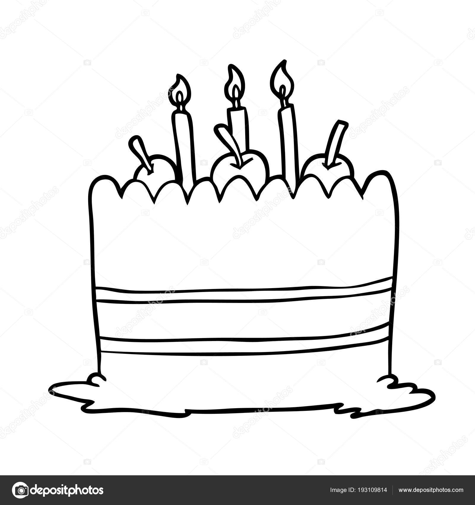 Peachy Drawings Of A Birthday Cake Line Drawing Birthday Cake Stock Funny Birthday Cards Online Alyptdamsfinfo