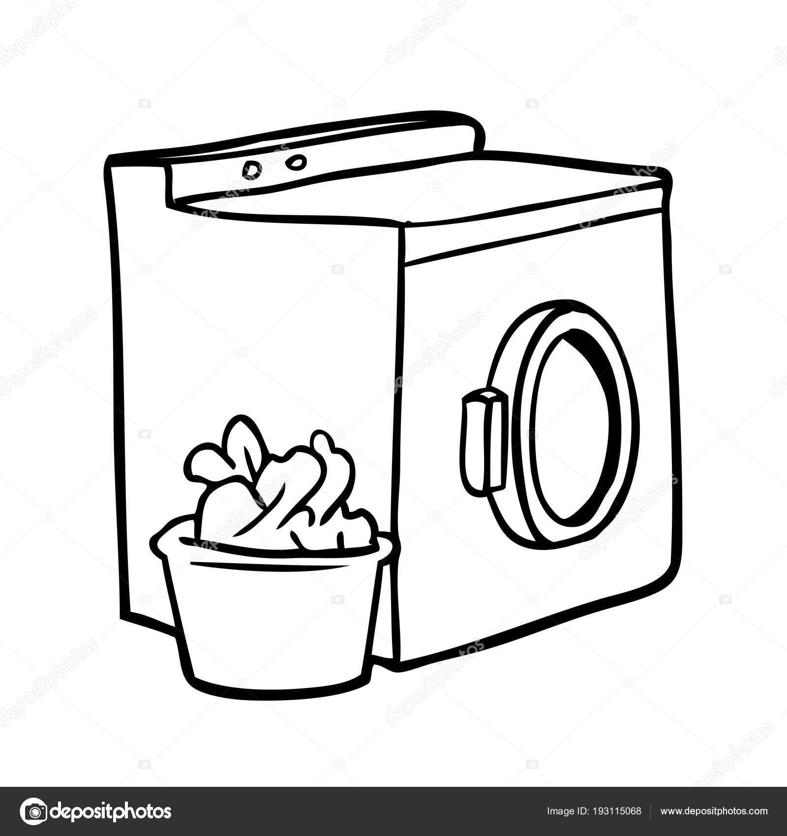 Washing Machine Drawing ~ Line drawing washing machine laundry — stock vector