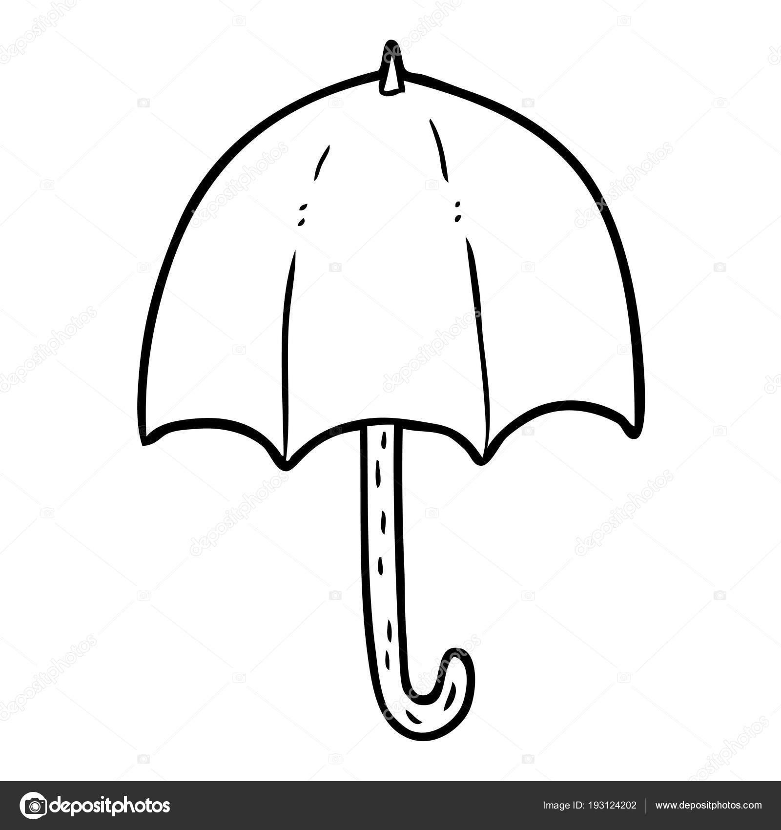 Dessin au trait dun parapluie ouvert vecteur par