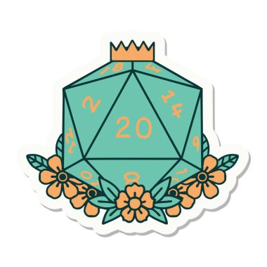 sticker of a natural 20 D20 dice roll with floral elements