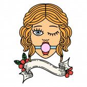 traditionelle Tätowierung mit dem Banner eines zwinkernden weiblichen Gesichts mit Ball-Gag