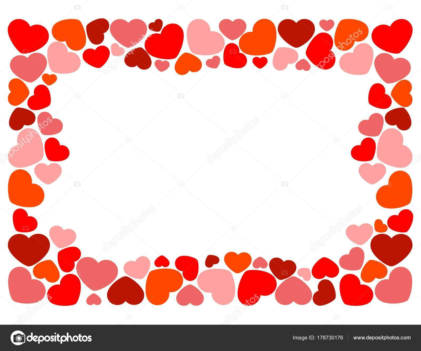 Herzen Bilden Einen Rahmen Für Den Valentinstag — Stockfoto ...