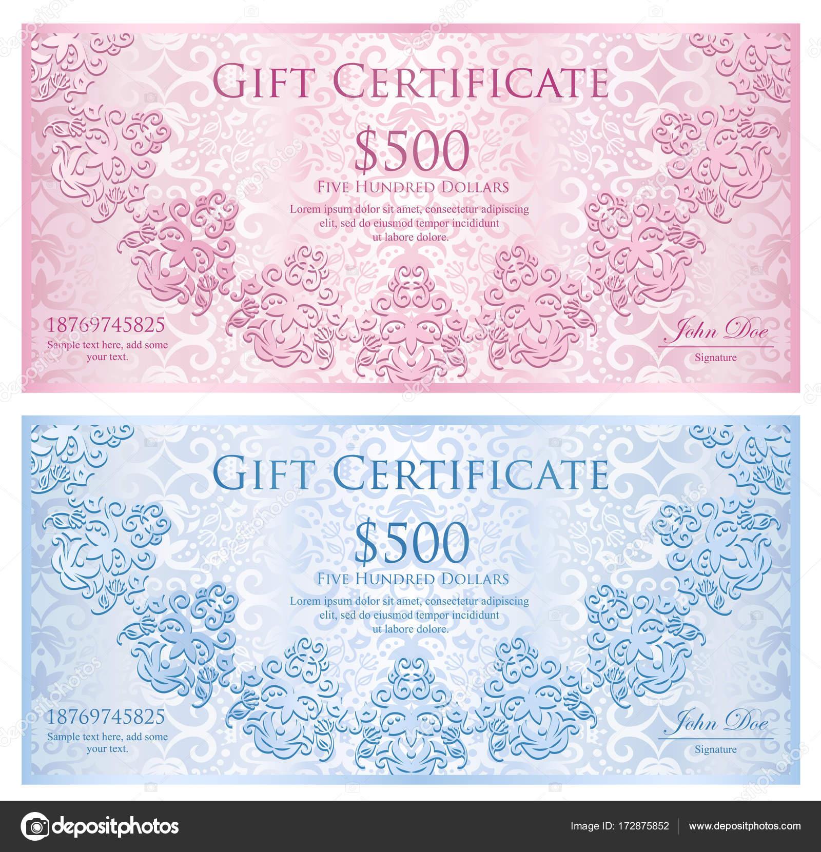 Luxus Quarz rosa und Baby blau Geschenk-Gutschein mit abgerundeten ...