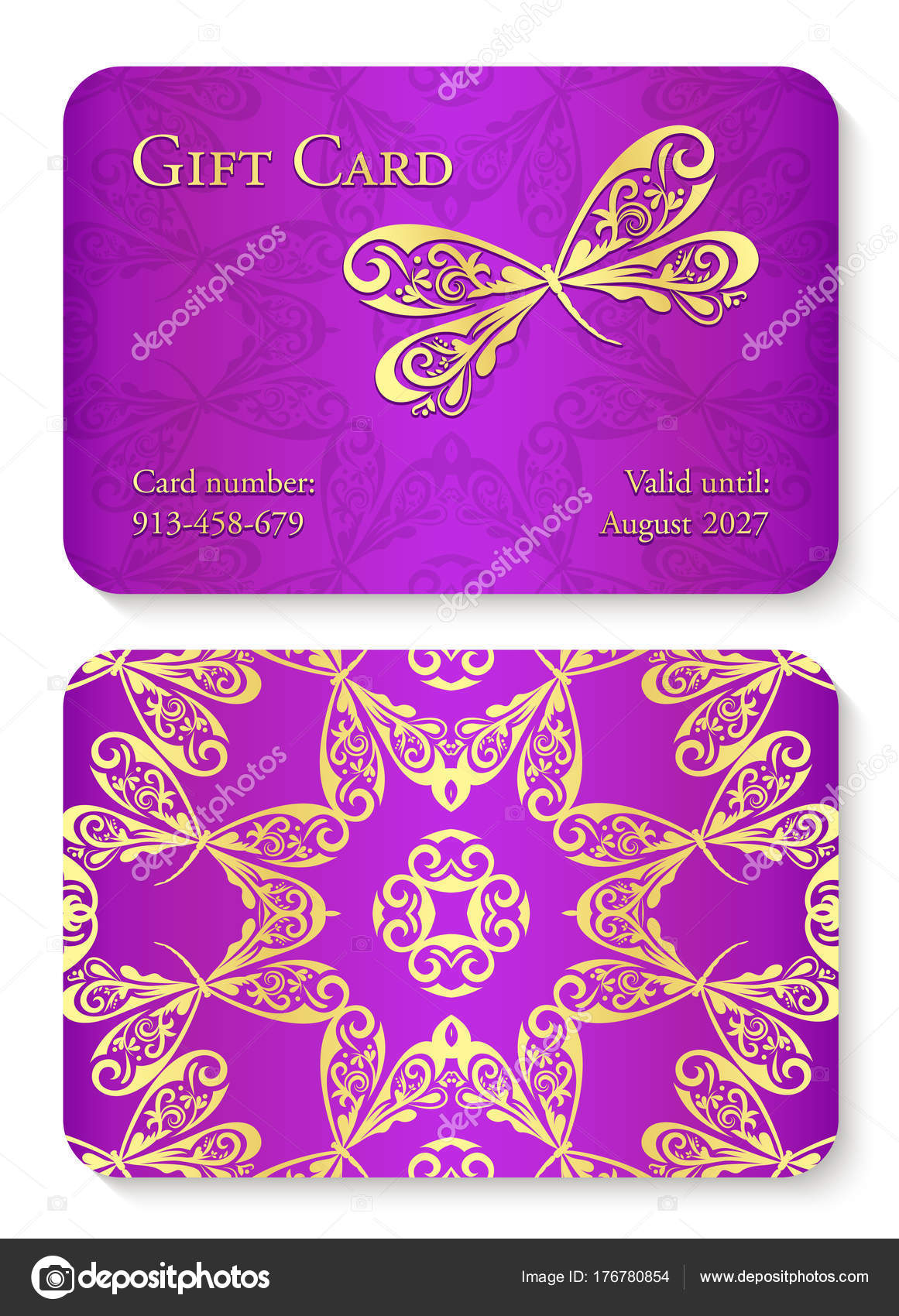 Luxury Violet Gift Card With Dragonfly Ornament Front Side With