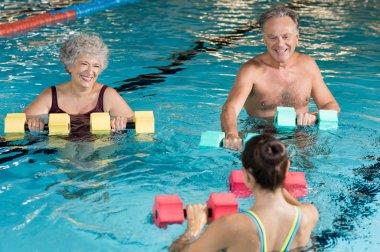 Seniors doing aqua aerobics