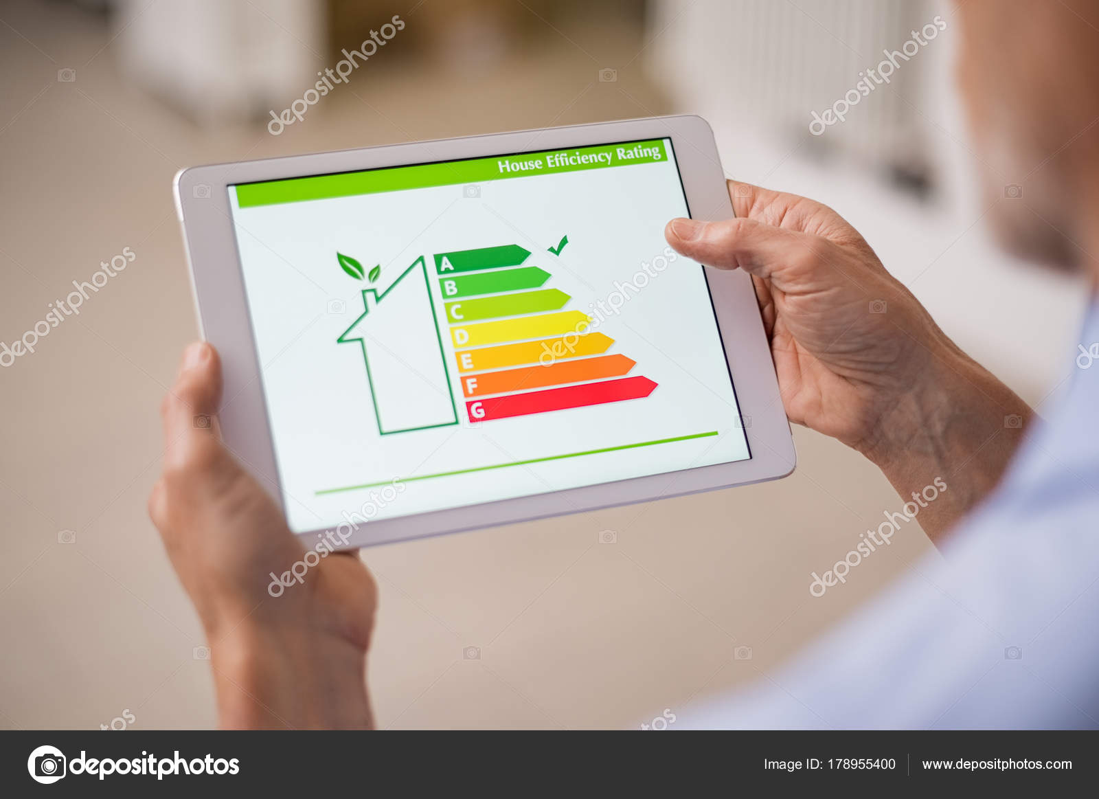 Captivating Detail Of House Efficiency Rating On Digital Tablet Screen. Concept Of  Ecological And Bio Energetic House. Energy Class. U2014 Photo By Ridofranz