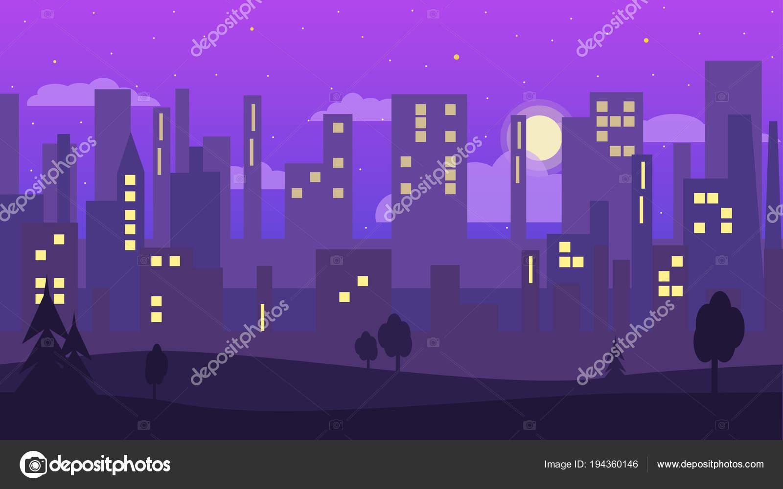 Nächtliche Stadt Flachen Stil Tapete Lila Farben Stadtsilhouette Vektor  Illustration U2014 Stockvektor