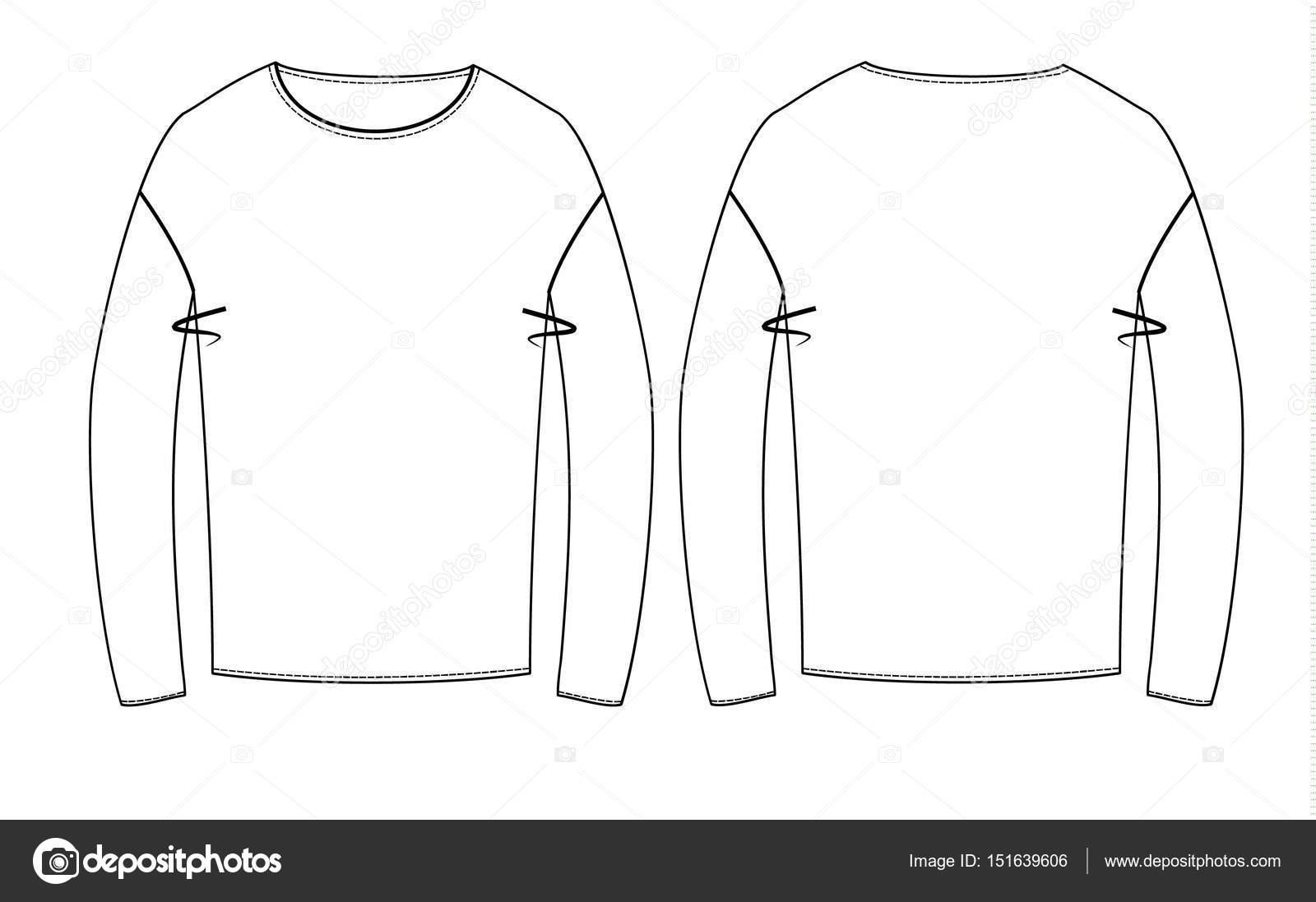Camisetas Técnicas Bocetos Vista Trasera Delantera — Vector de stock ... 70d04df82a3fe