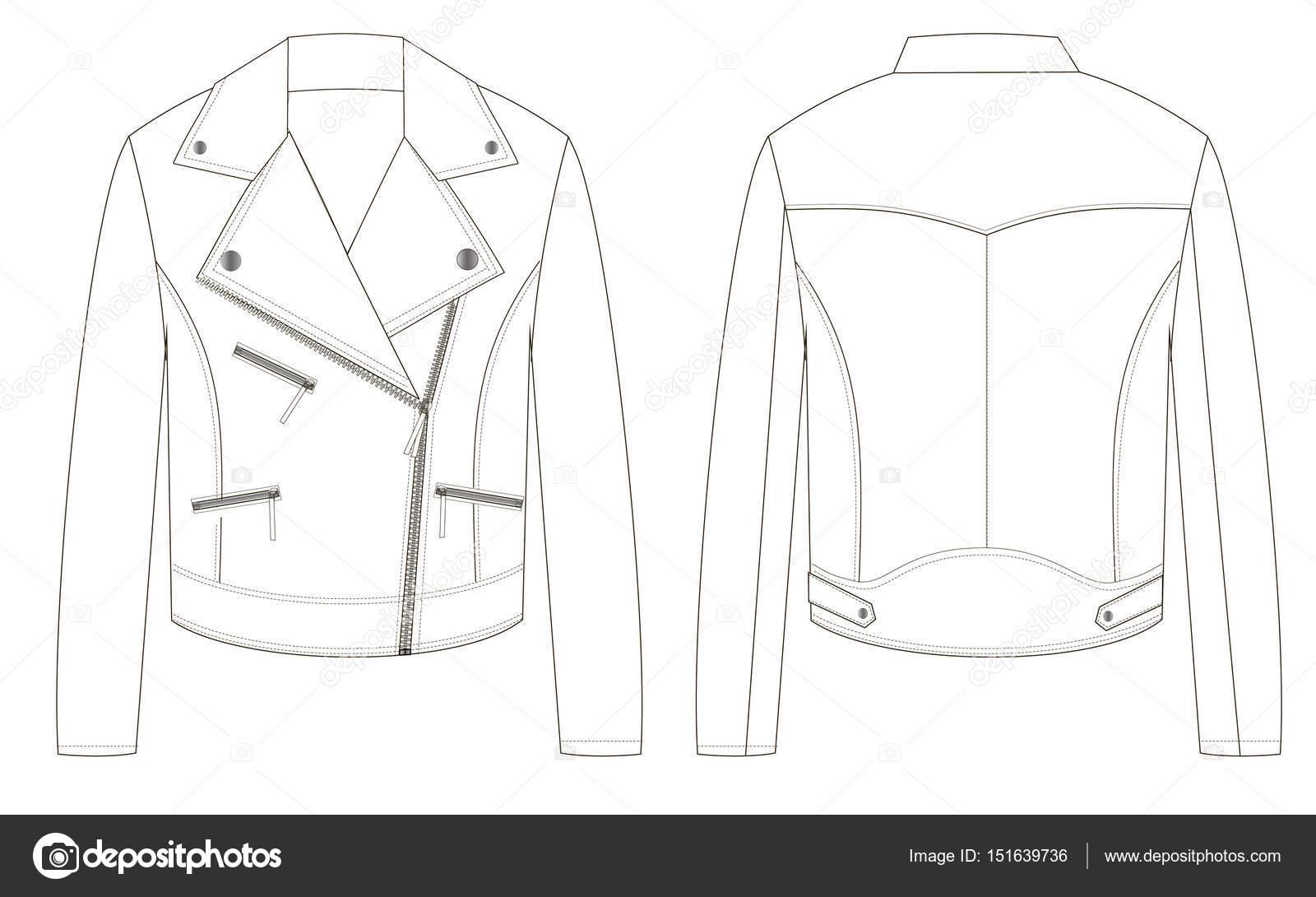 e3ade1dcbae8a Chaqueta Cuero Biker Partes Delanteras Traseros Dibujo Técnico Contorno —  Vector ...