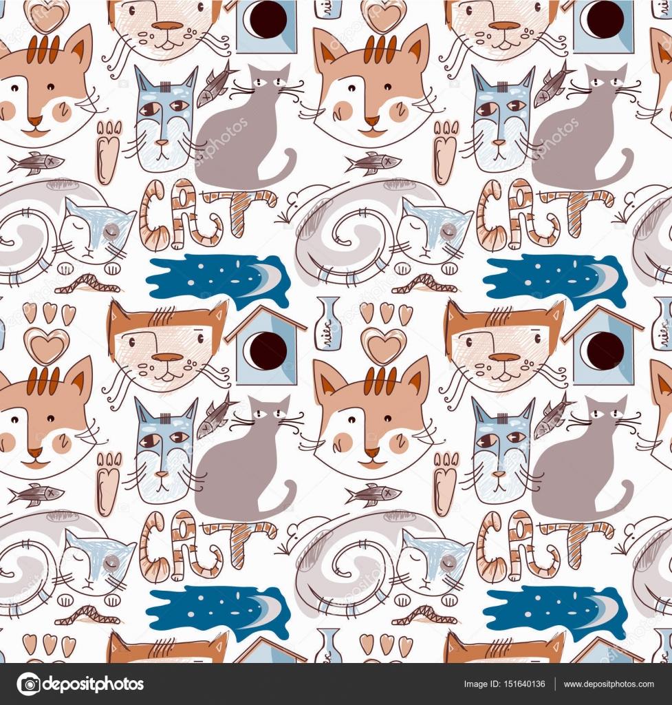 Wallpaper De Gato De Dibujos Animados Para Su Diseño