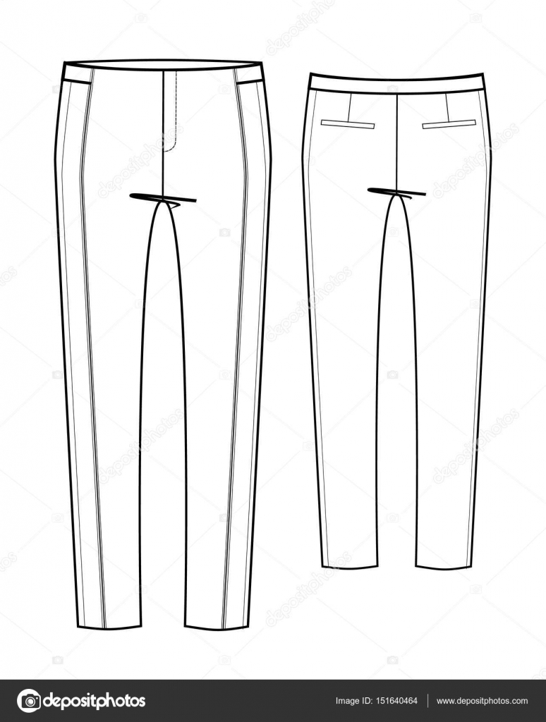 Pants Fashion Design Sketches Female Trousers Technical Sketch Stock Vector C Galieva0410 151640464