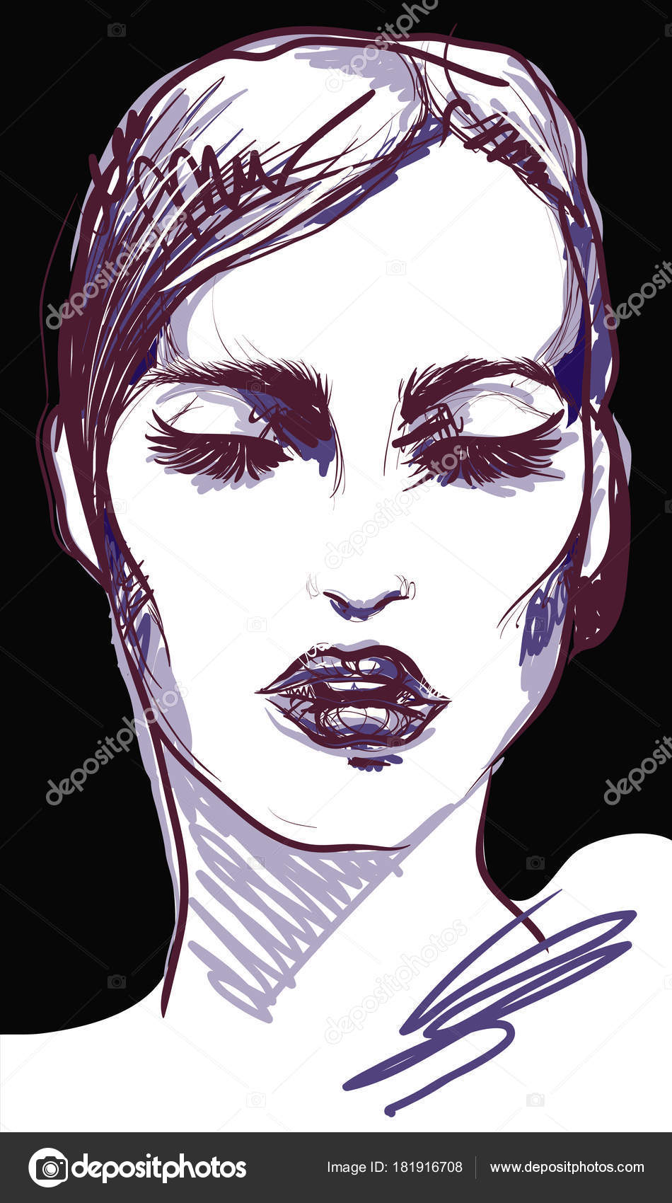 Ritratto di donna grafico di voga con labbra nero lucido e moda slogan.  illustrazione vettoriale di moda. poster — Vettoriali di ... 79499a1627d3