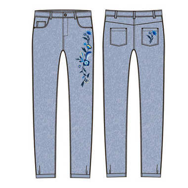 sketch of jeans with floral embroidery.