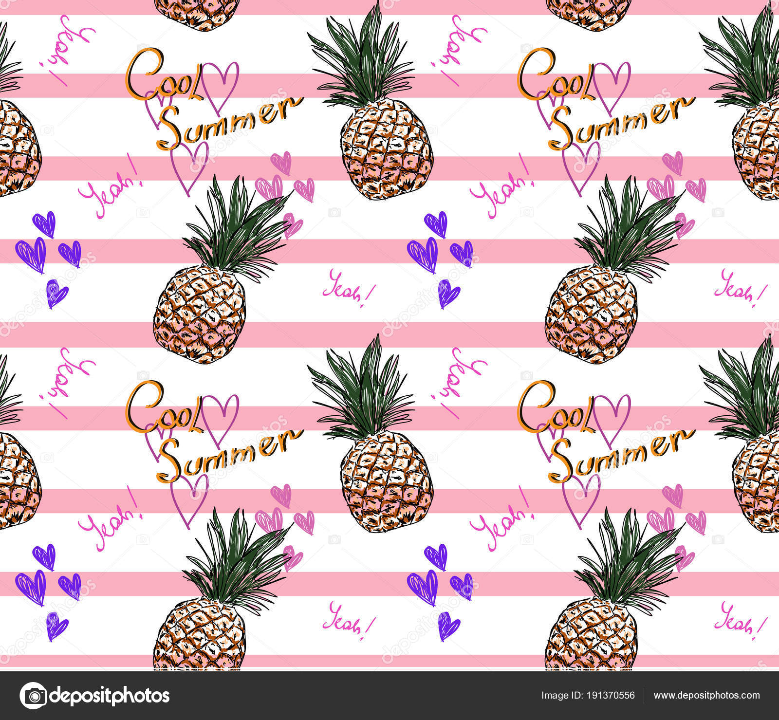 Cute Pineapple Pattern With Text Cool Summer And Heart On Pink Striped Background Vector By Galieva0410