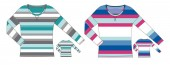 striped longsleeve technical sketch illustration back and front view