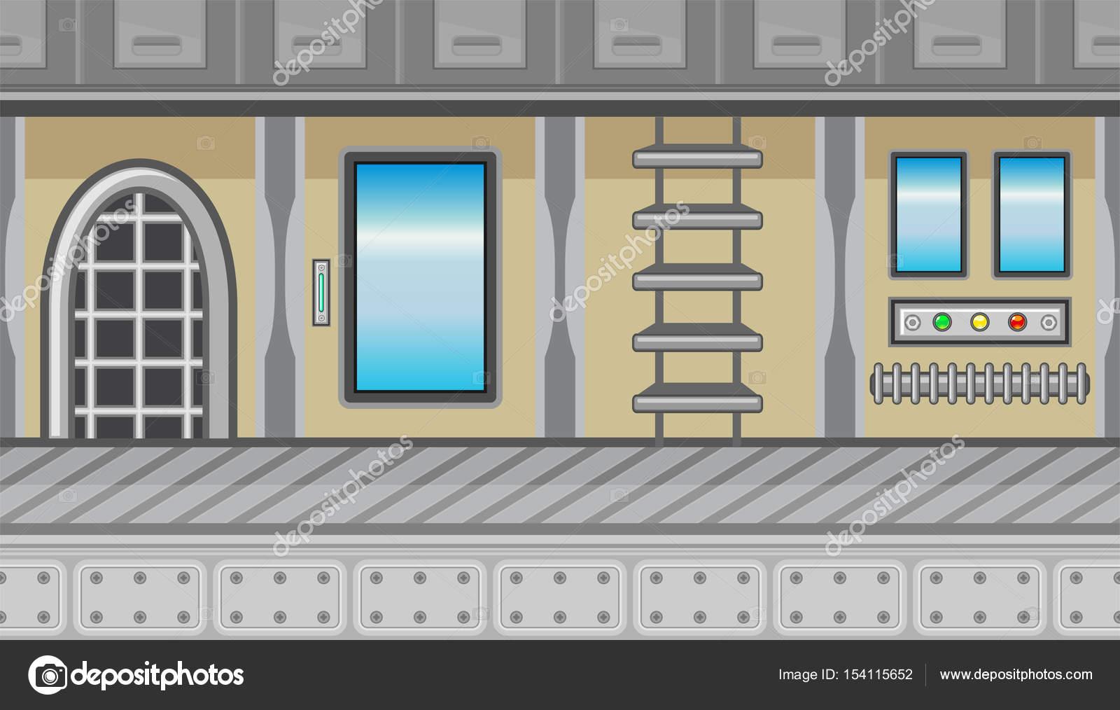 Interior De Ventana De Nave Espacial: Interior De Nave Espacial Ventanas Escalera Y Azul Para El