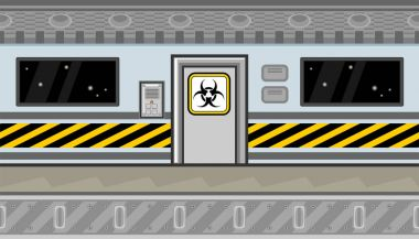 Seamless spaceship interior with door and warning line for game design