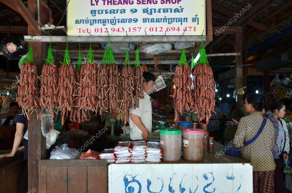 Cambodian people sells food in the market – Stock Editorial