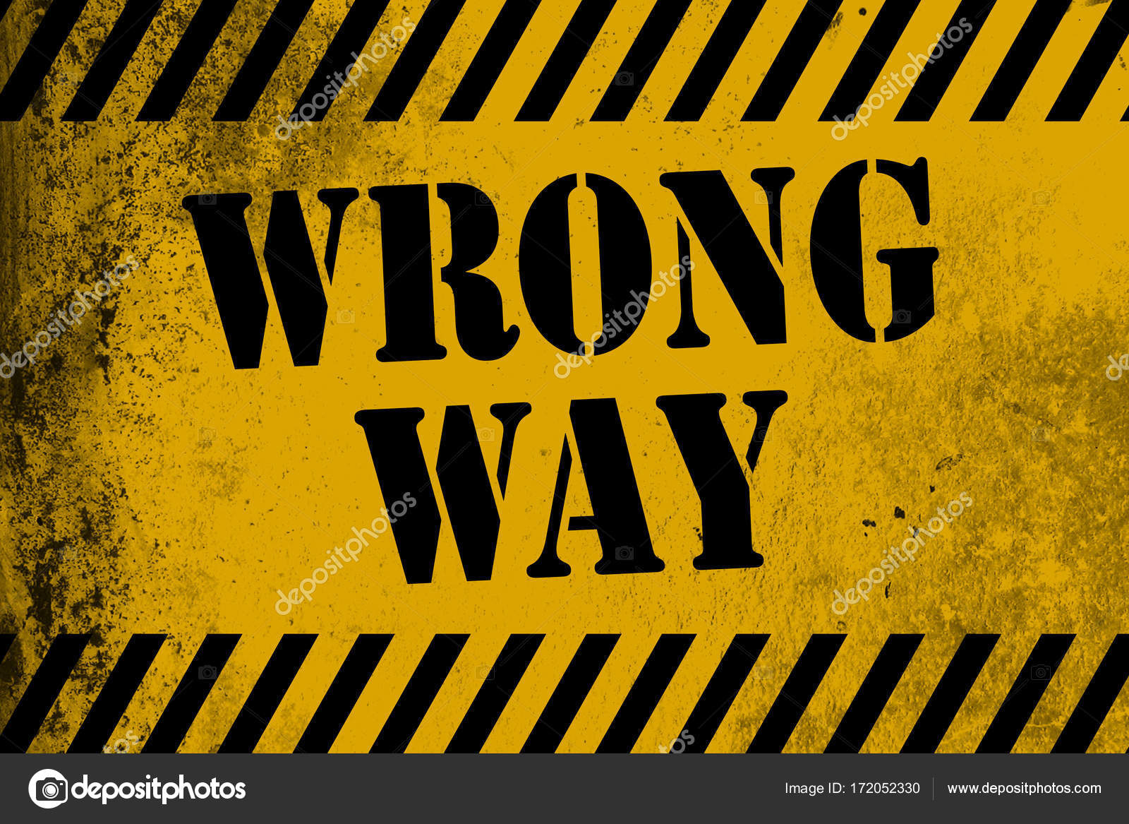wrong way sign yellow with stripes stock photo tang90246 172052330