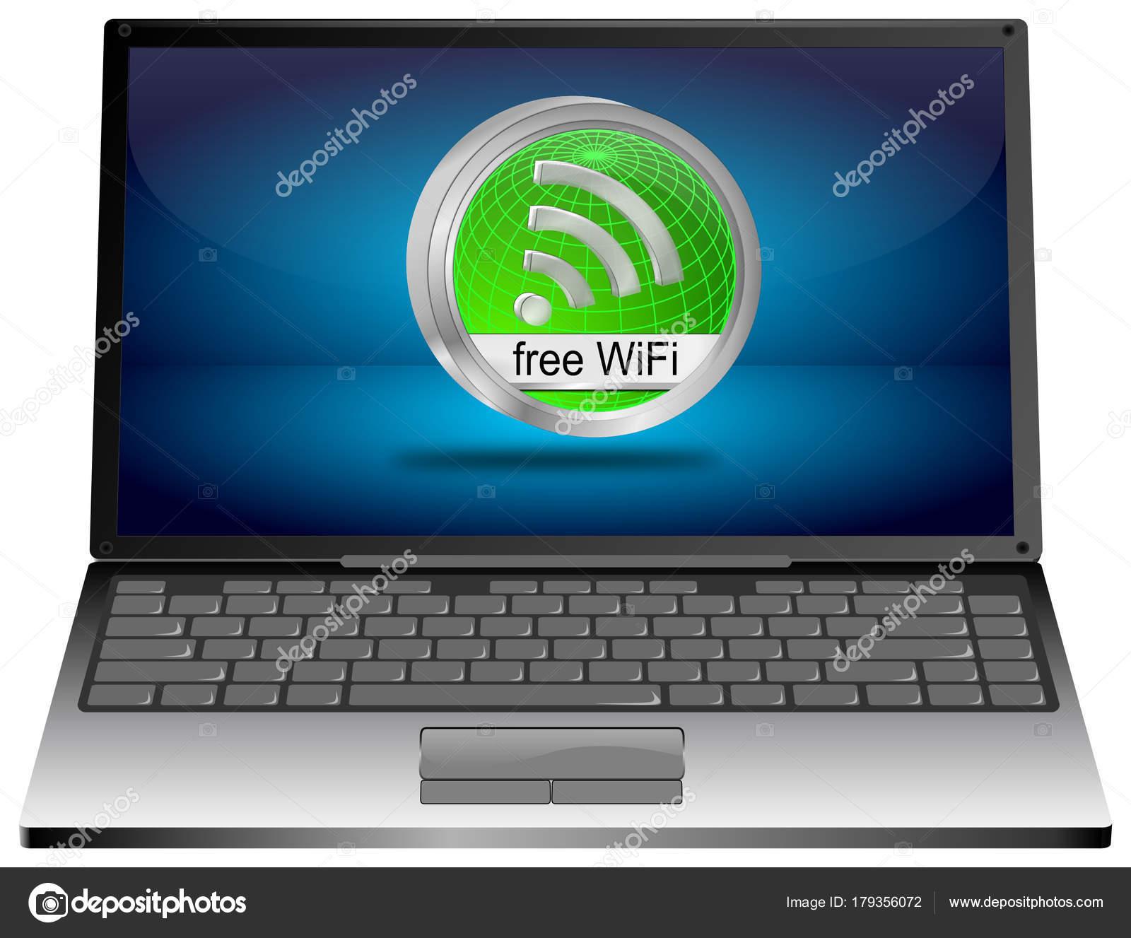 緑無料 wifi ボタン イラスト ノート パソコン — ストック写真