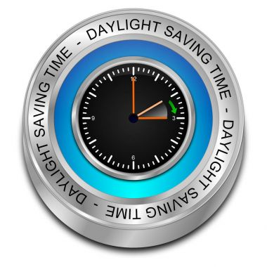 blue Daylight saving time button - 3D illustration