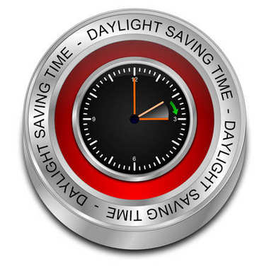 red Daylight saving time button - 3D illustration