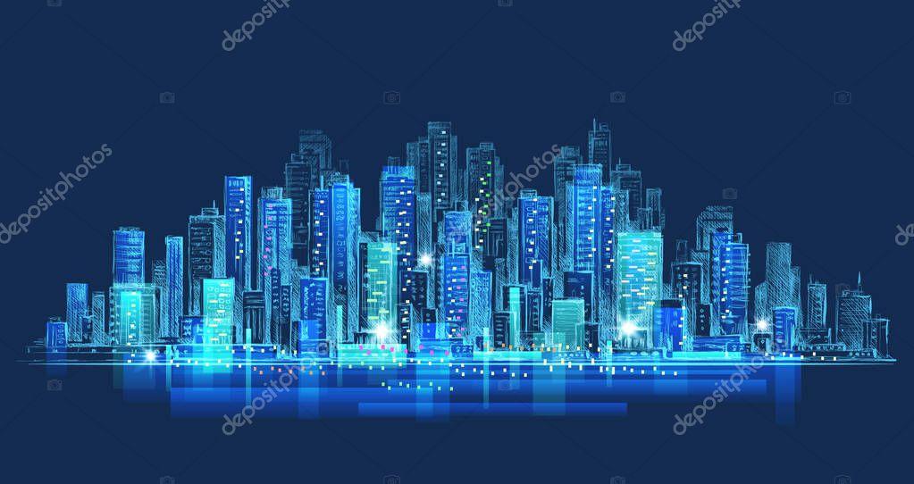 City at night drawing | City skyline panorama at night ...