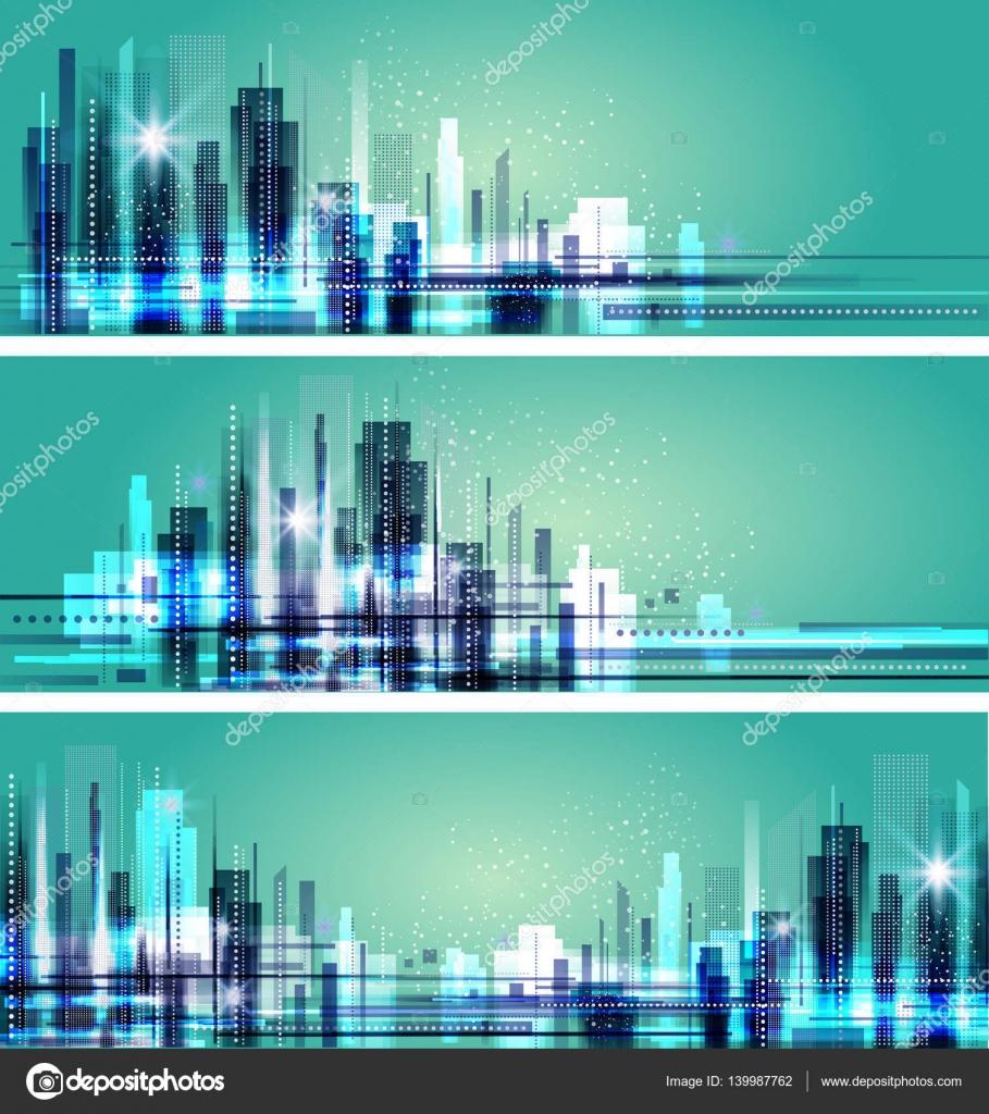 Resumen la ciudad en tiempo de noche, diseño del vector del paisaje ...