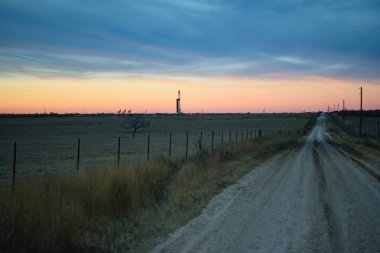 American Drilling Rig at Sunset