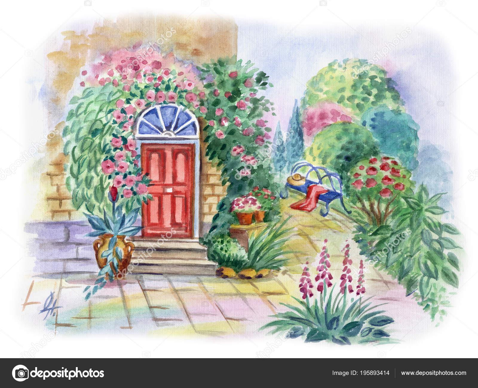 Pohled Kvetouci Predzahradka Dum Dvere Zahrady Lavice Akvarel
