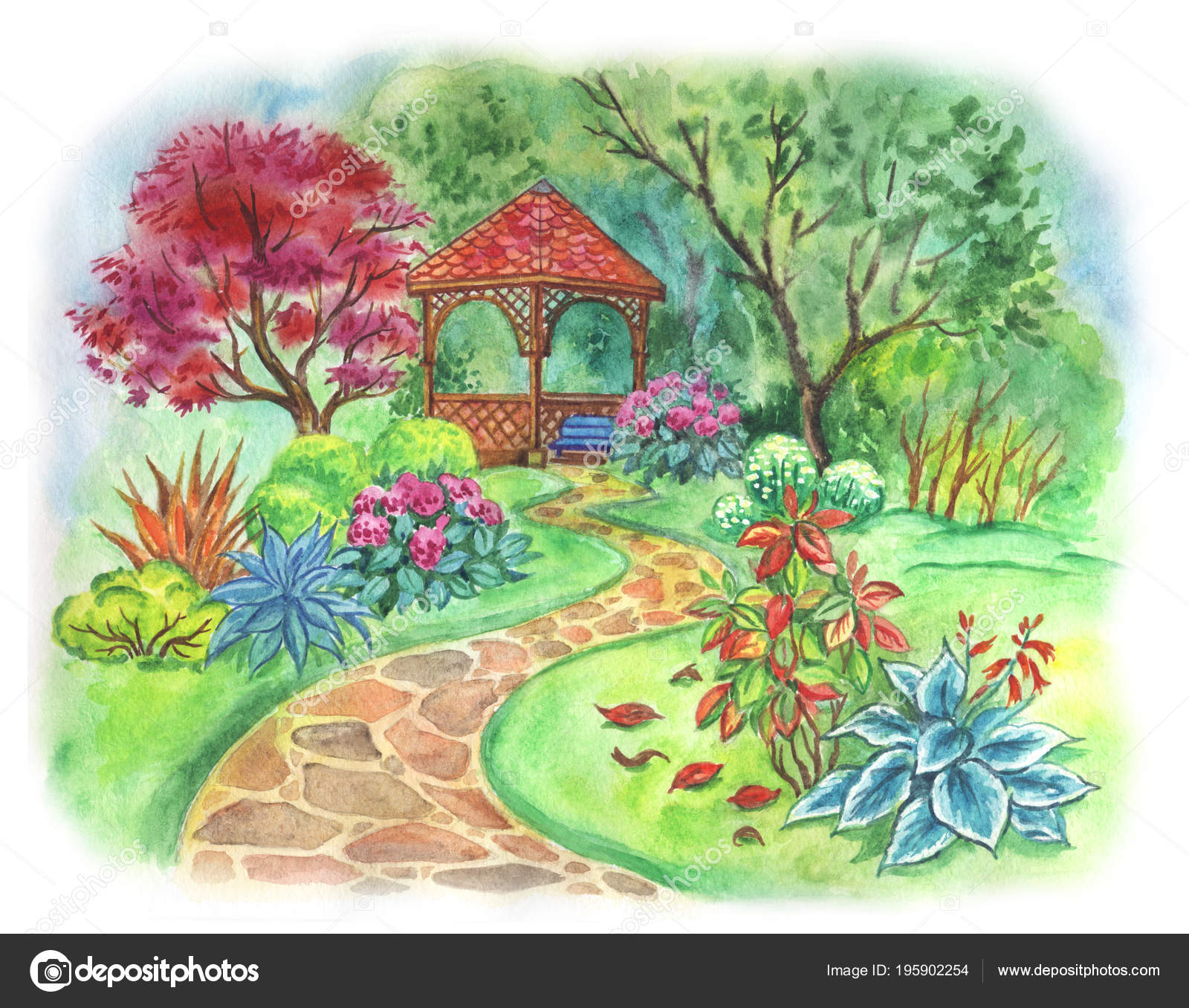 Arbor Green Garden Trees Bushes Watercolor Drawing \u2014 Stock