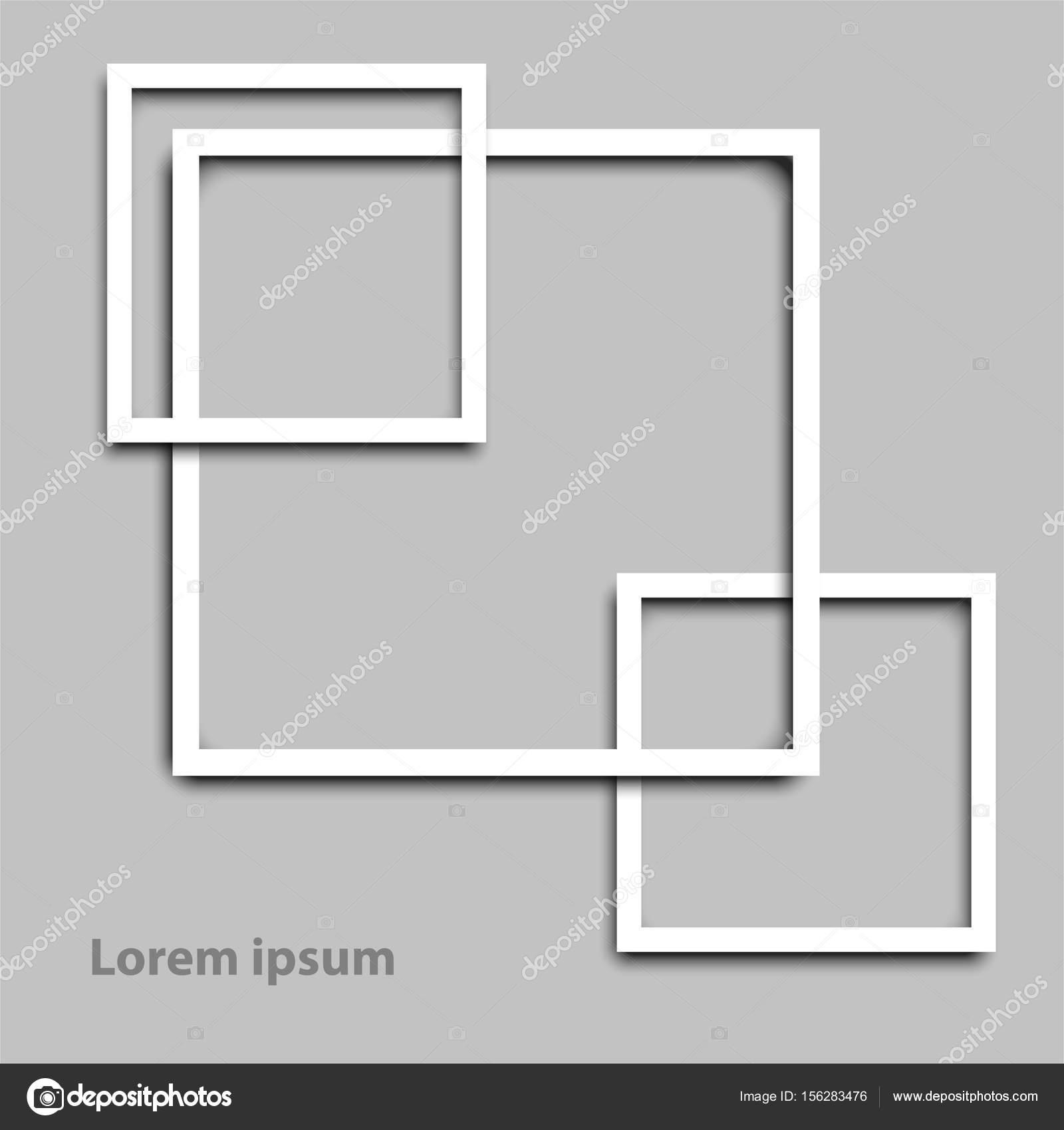 Einfache weiße 3d quadratischen Rahmen Rahmen für Website ...
