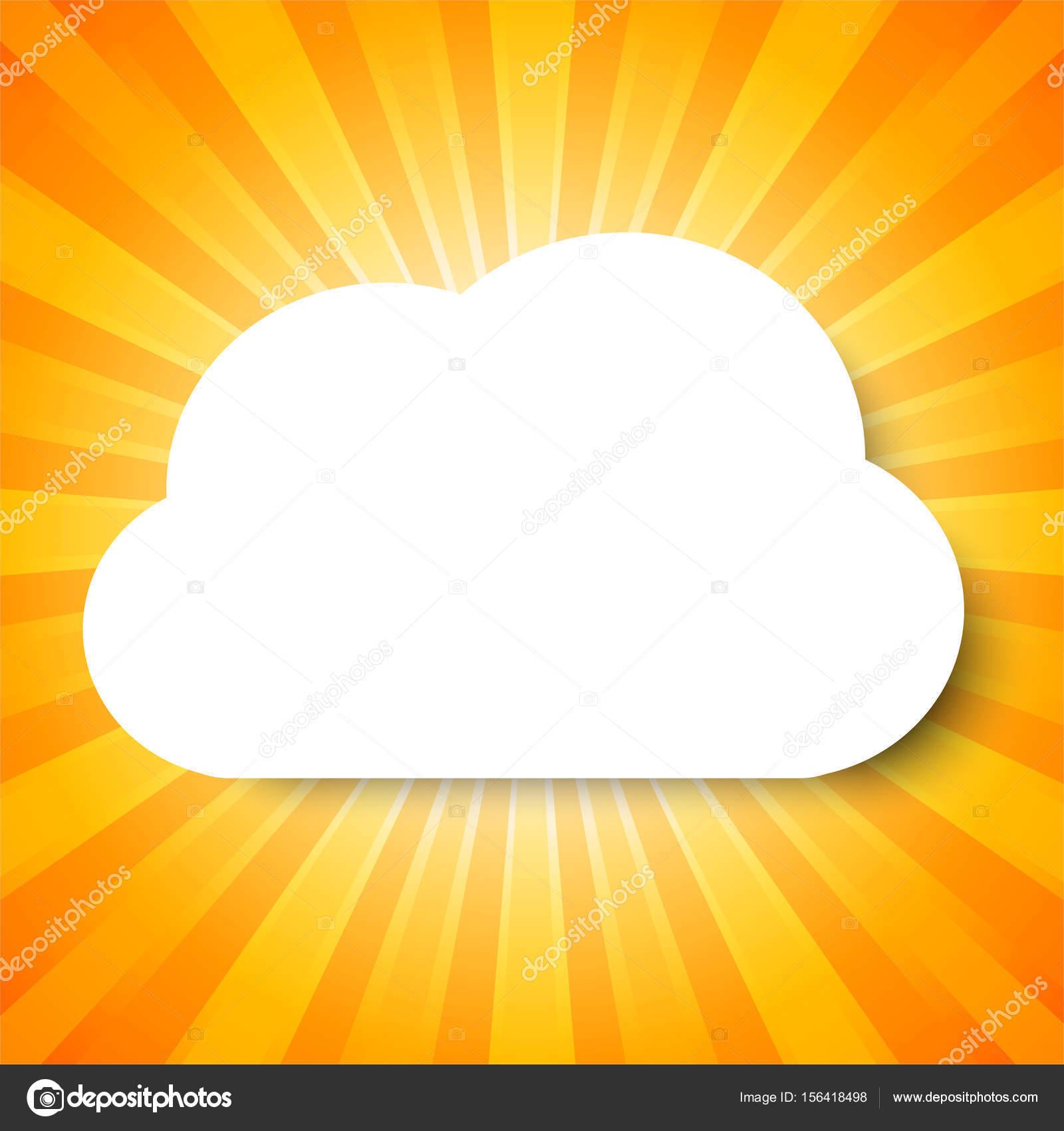 Plantilla nube blanca sobre fondo abstracto naranja con concepto de ...