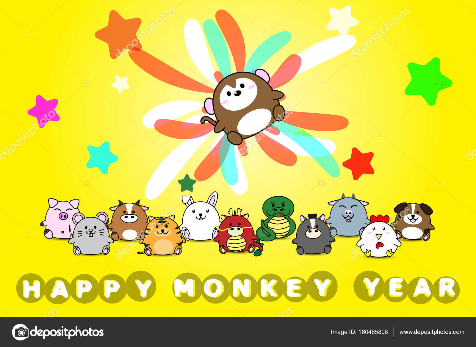 Happy New Year For Monkey Year Of Animal Symbol Chinese Zodiac