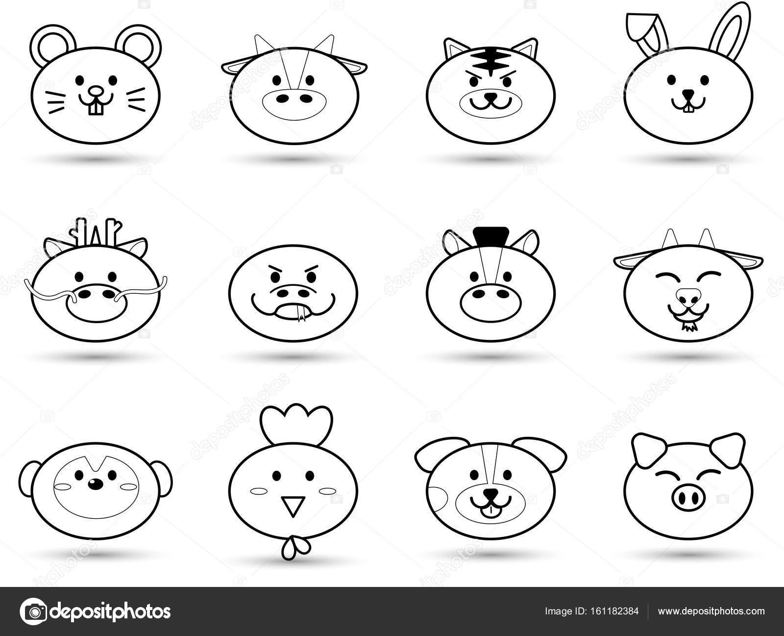 動物の簡単なアウトライン脂肪かわいい頭署名中国の黄道帯星座