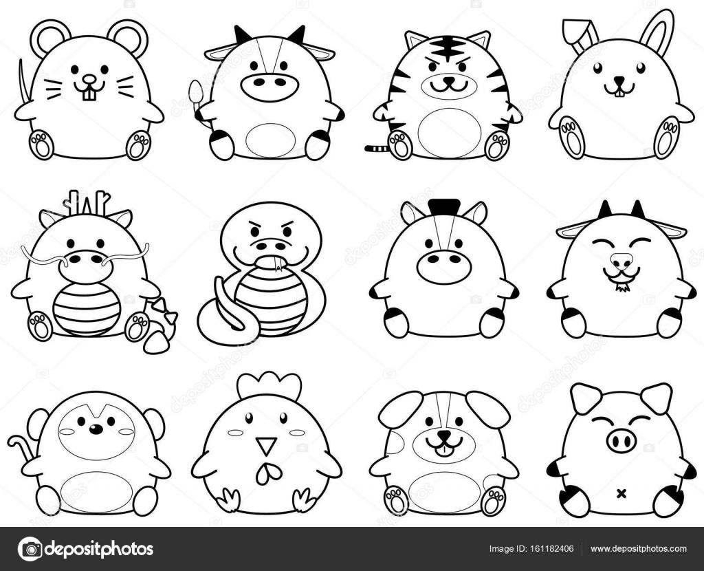 中国の黄道帯星座動物標識コレクションの簡単なアウトラインかわいい脂肪